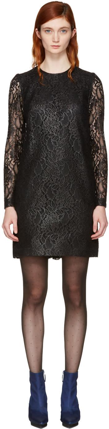 Msgm Black Lace Ruffle Dress