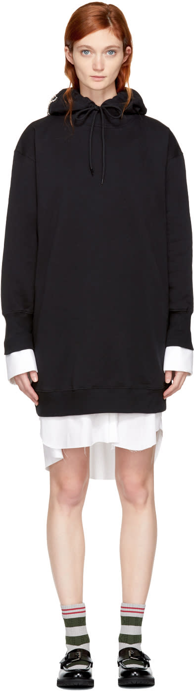 Image of Msgm Black Bejewelled Logo Hoodie Dress