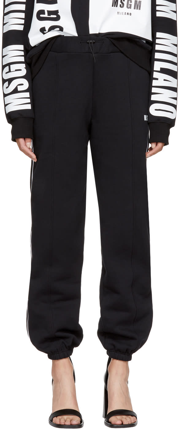 Image of Msgm Black Athletic Stripe Jogger Pants