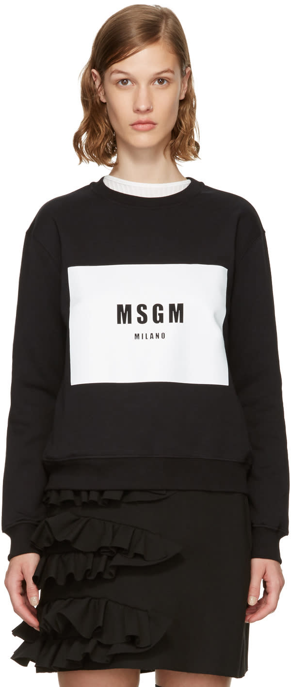Image of Msgm Black Box Logo Sweatshirt