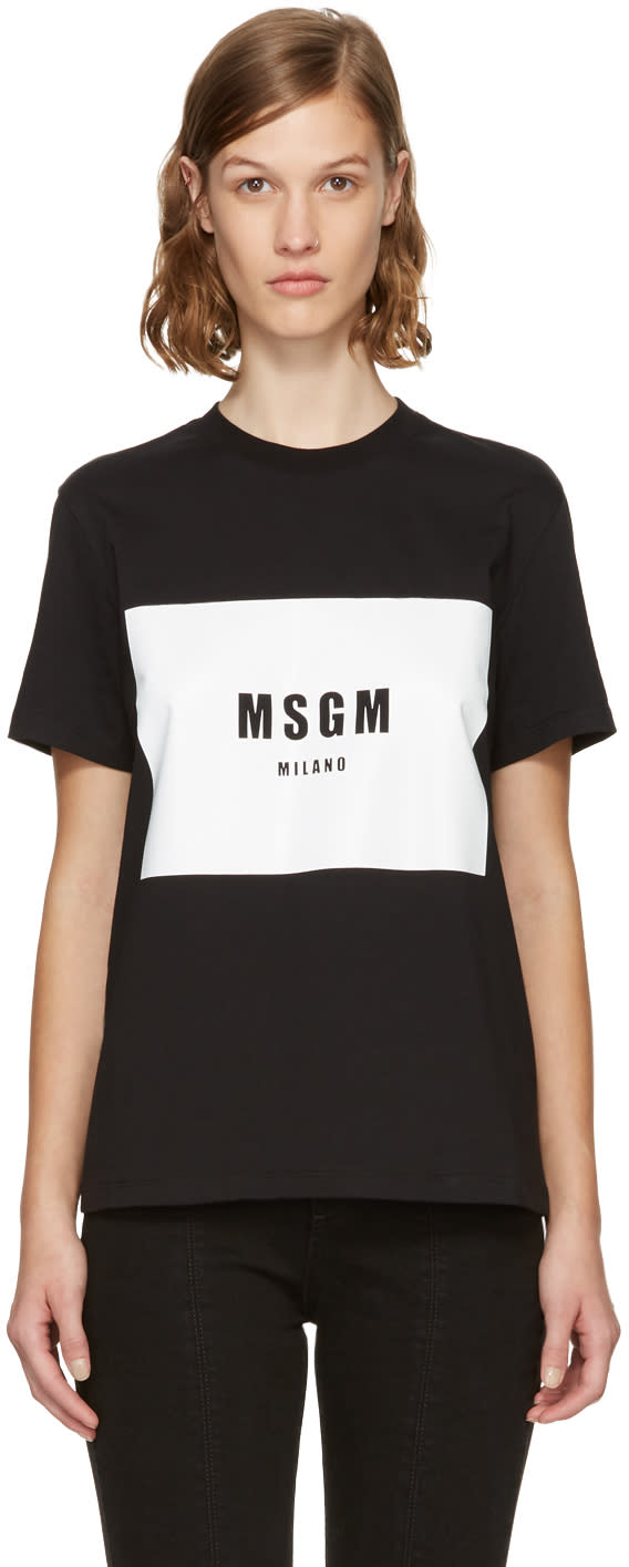 Image of Msgm Black Box Logo T-shirt