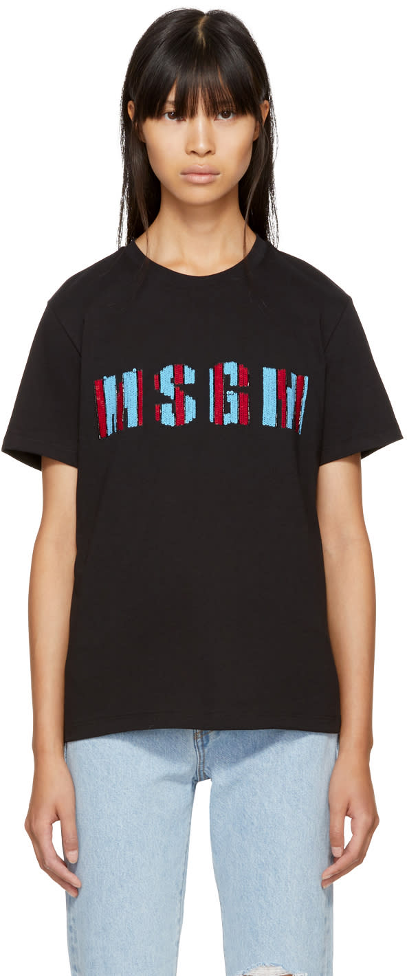 Image of Msgm Black Beaded Logo T-shirt