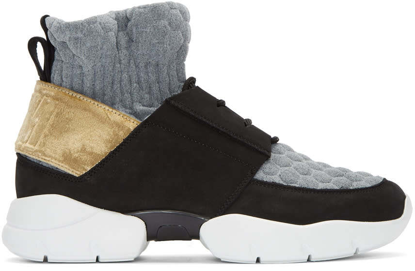 Image of Msgm Black and Gold Ruched Jersey Sneakers