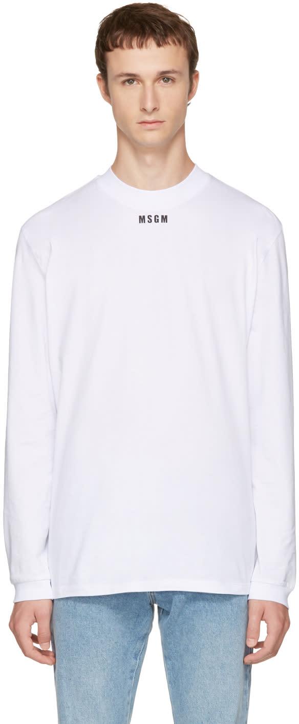 Msgm ホワイト ロング スリーブ ニュー ロゴ T シャツ
