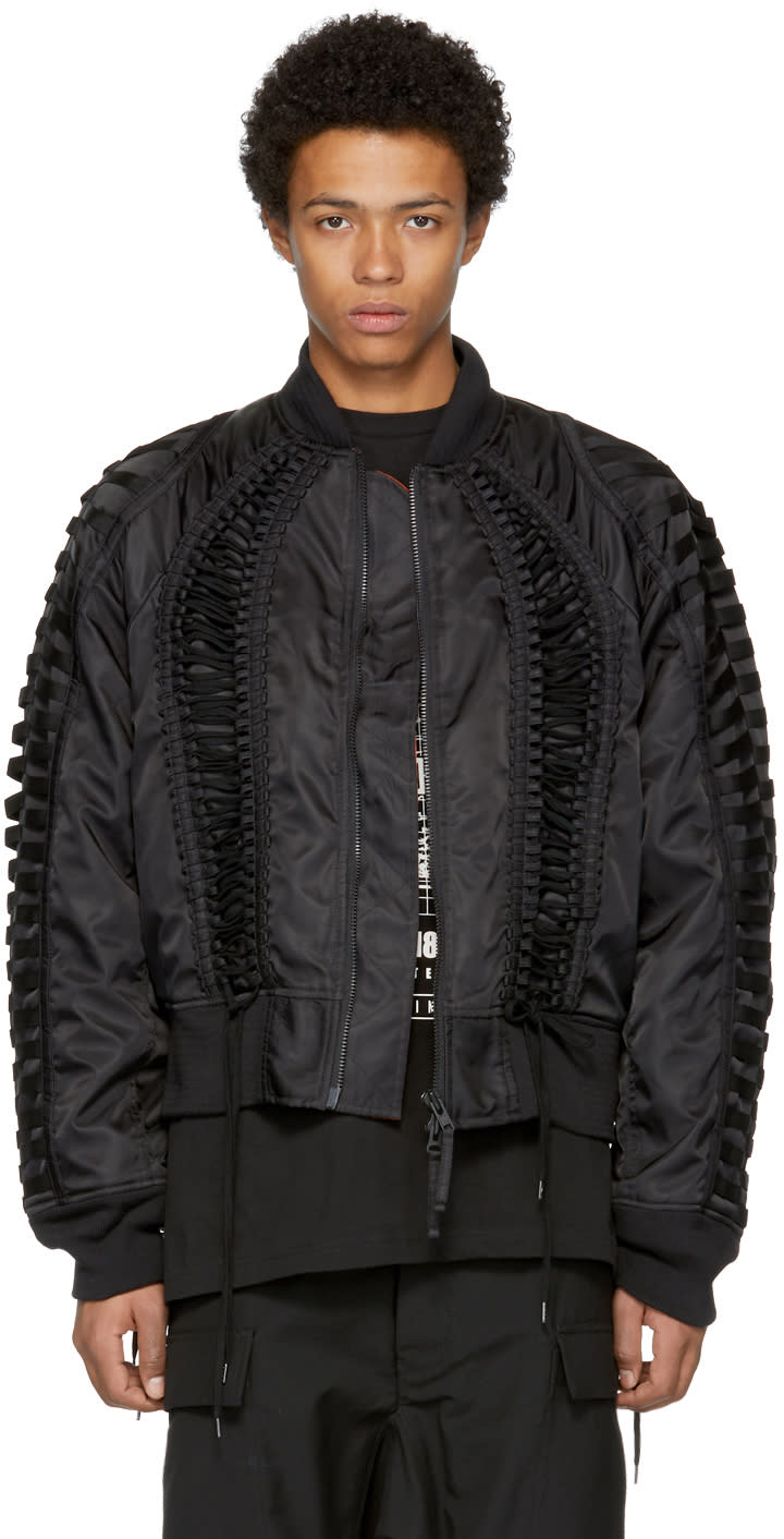 Image of Ktz Black Lace-up Bomber Jacket