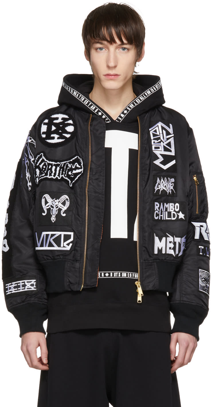 Image of Ktz Black Alpha Industries Edition Seventeen White Patches Bomber Jacket