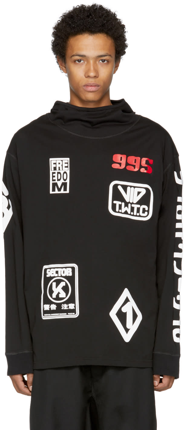 Image of Ktz Black Jersey Patches Hoodie