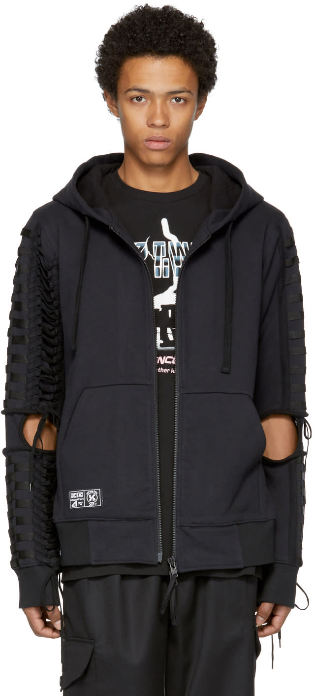 Image of Ktz Black Lace-up Zip Hoodie