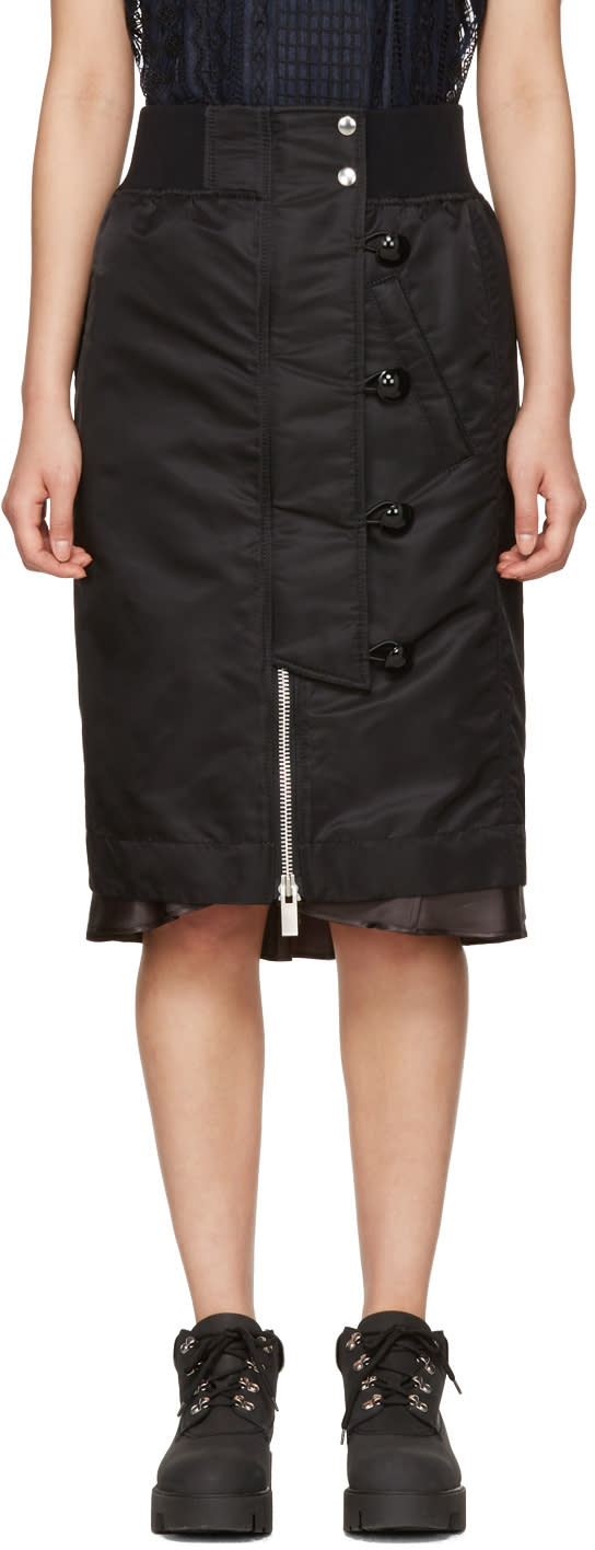 Sacai Black Nylon Ma-1 Skirt