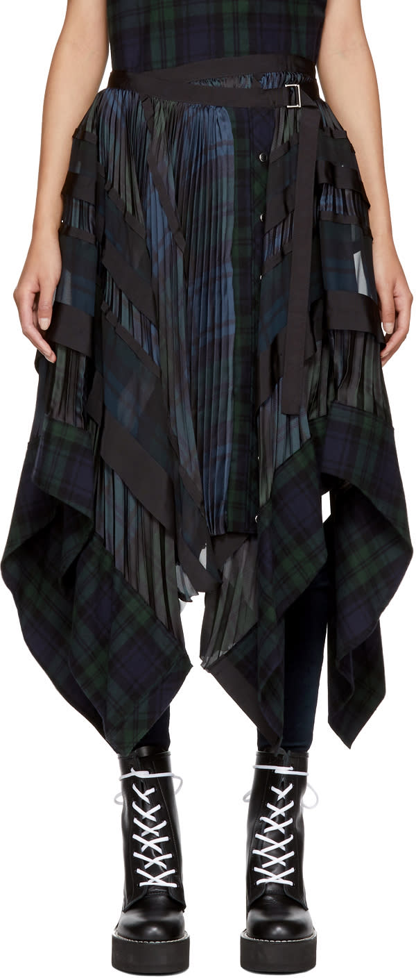 Image of Sacai Black and Navy Pleated Plaid Belted Skirt