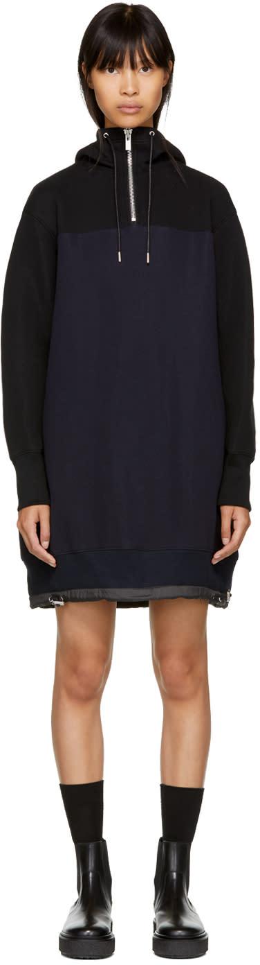 Image of Sacai Black and Navy Sponge Hoodie Dress