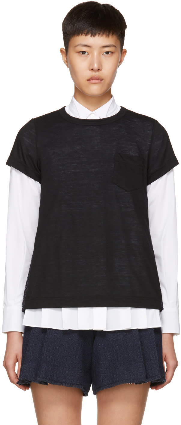 Image of Sacai Black and Navy Hybrid Lace T-shirt