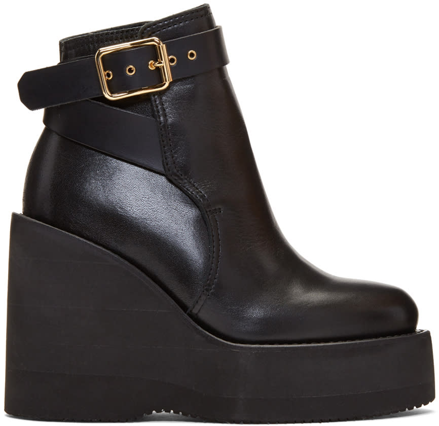 Sacai Black Wedge Boots