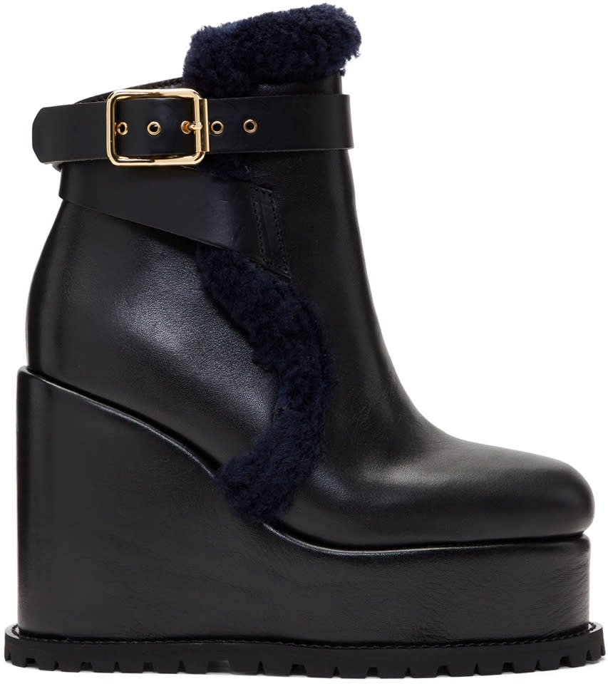 Sacai Black Shearling Wedge Boots