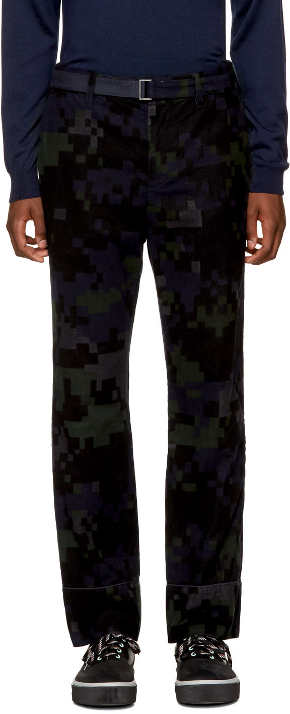 Image of Sacai Black Camouflage Trousers