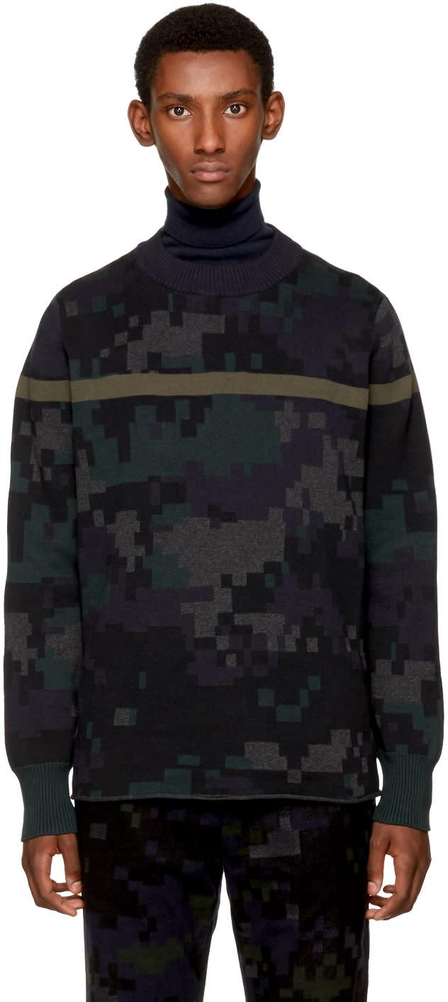 Image of Sacai Black Camouflage Sweater