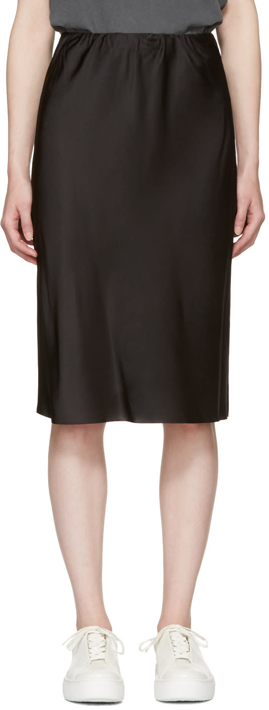 Image of 6397 Black Silk Bias Cut Skirt