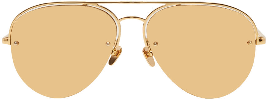 Image of Linda Farrow Luxe Gold 543 Aviator Sunglasses