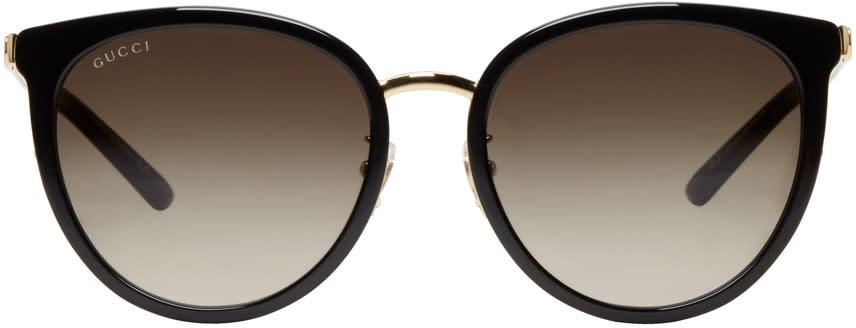 Gucci Black and Gold Retro Cat Eye Sunglasses