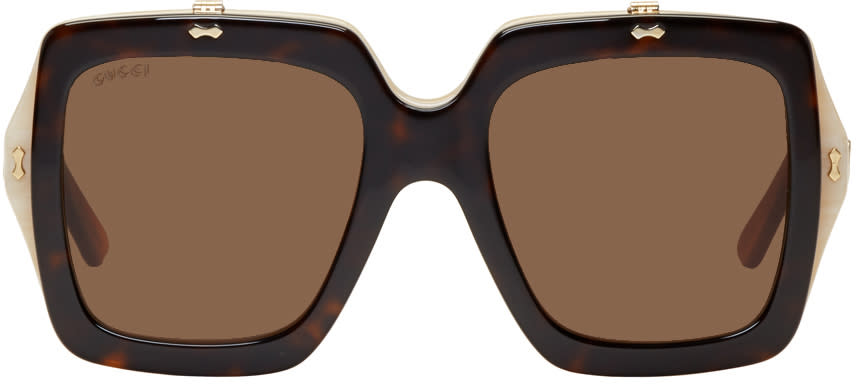 a058056ca8 Gucci Tortoiseshell Oversized Square Flip up Sunglasses
