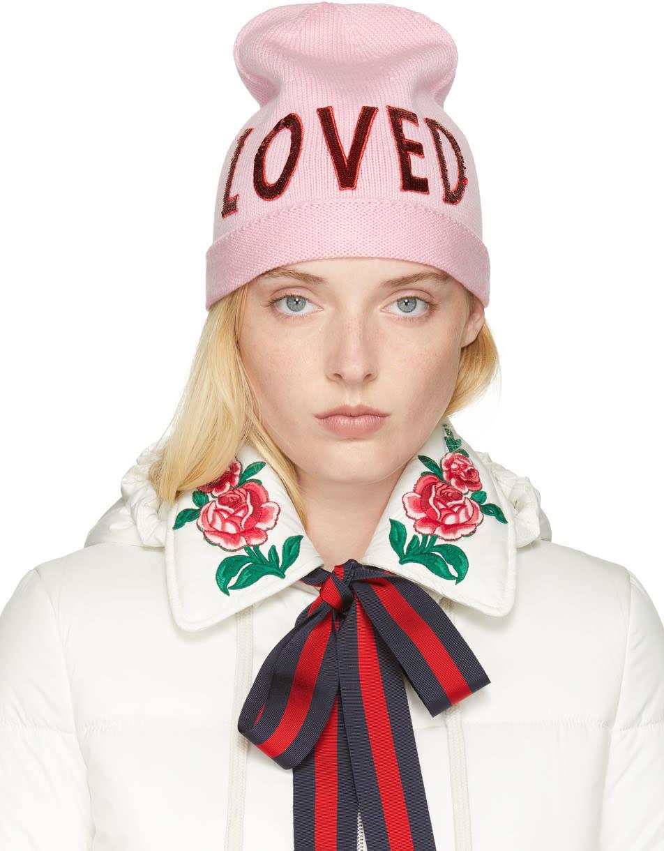 Gucci Pink Wool loved Beanie 3bd1377ca08