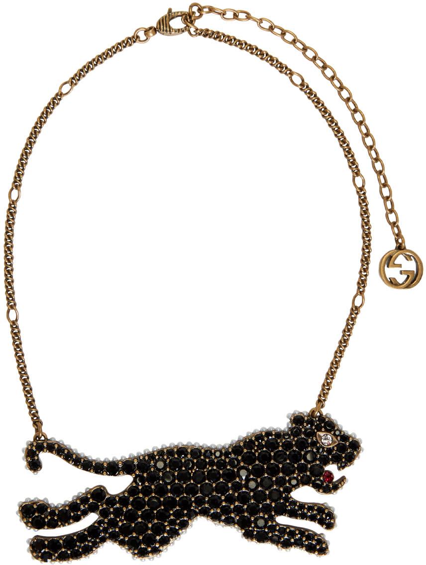 1048daf5f67d3 Gucci Gold and Black Tiger Necklace