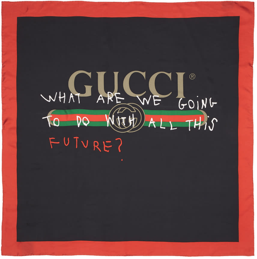ebee7f0ceaa Gucci Black and Red Silk future Logo Scarf