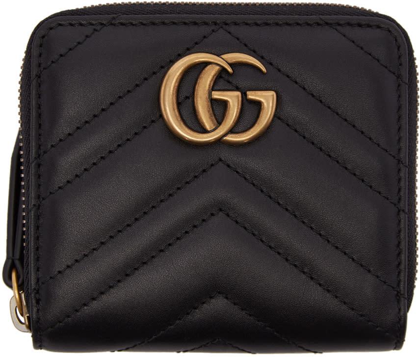 Gucci ブラック ミニ Gg マーモント 2.0 ジップ アラウンド ウォレット