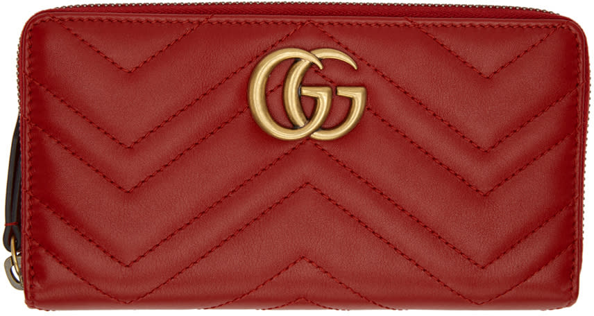 e4144c11430044 Gucci Red Gg Marmont Zip Around Wallet