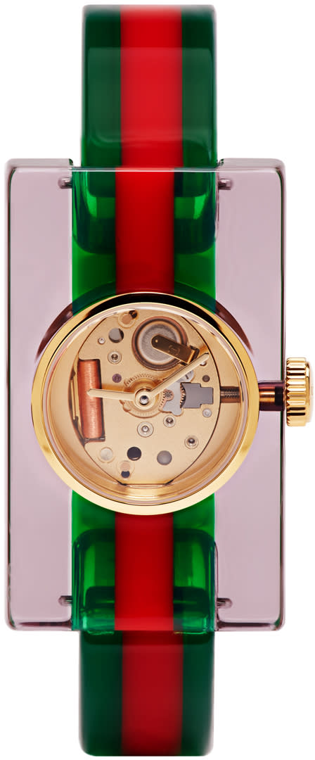 Gucci Red and Green Plexiglass Skeleton Watch