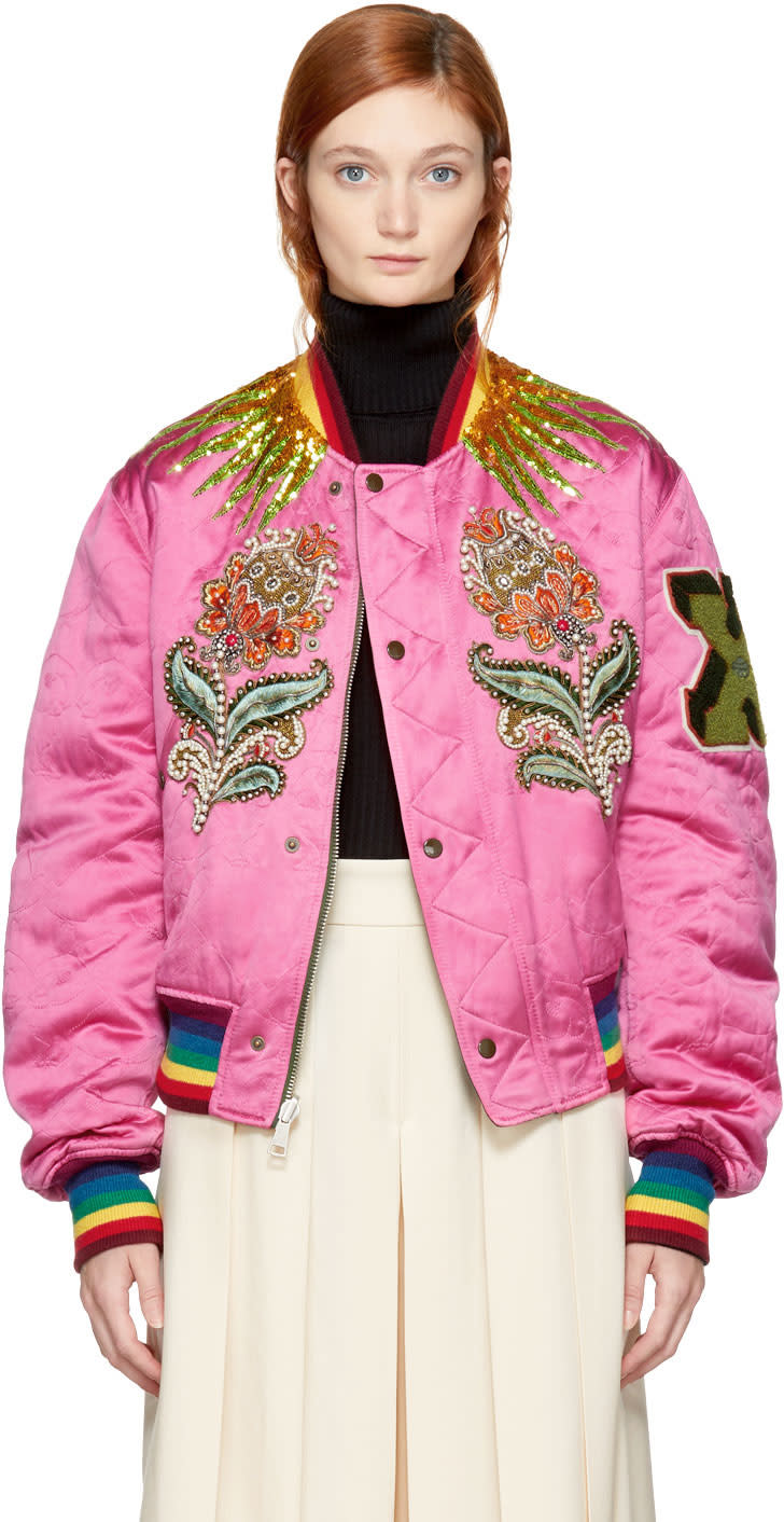 Gucci Reversible Pink and Green Quilted Tiger Bomber Jacket