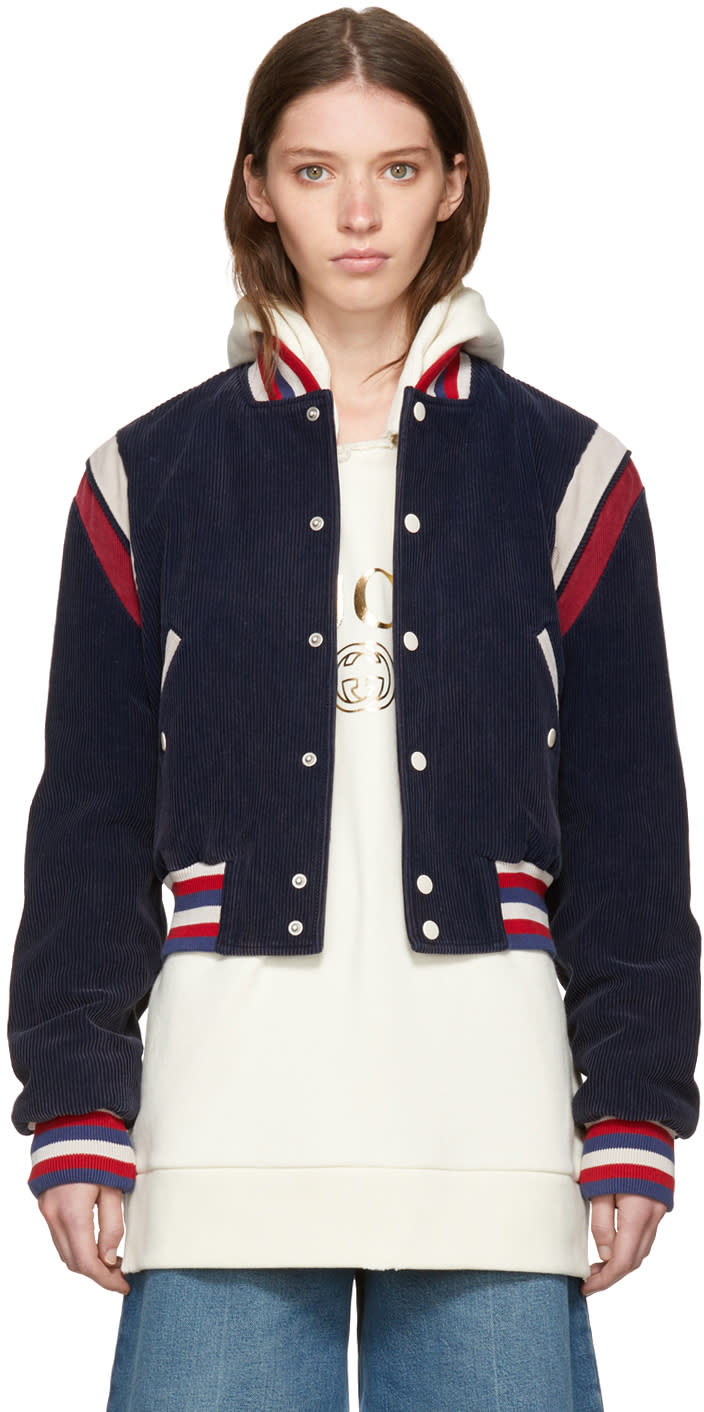 Gucci Blue Corduroy hollywood Bomber Jacket