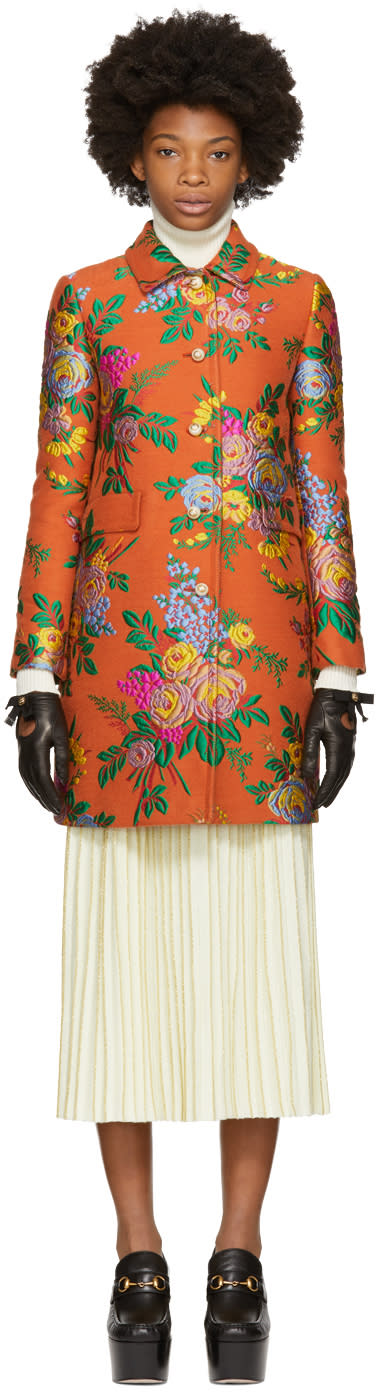 Gucci Orange Floral Jacquard Coat