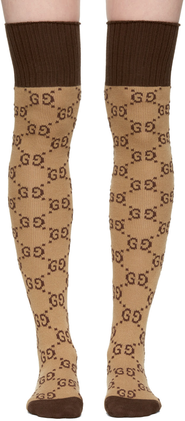 Image of Gucci Beige and Brown Gg Supreme Stockings