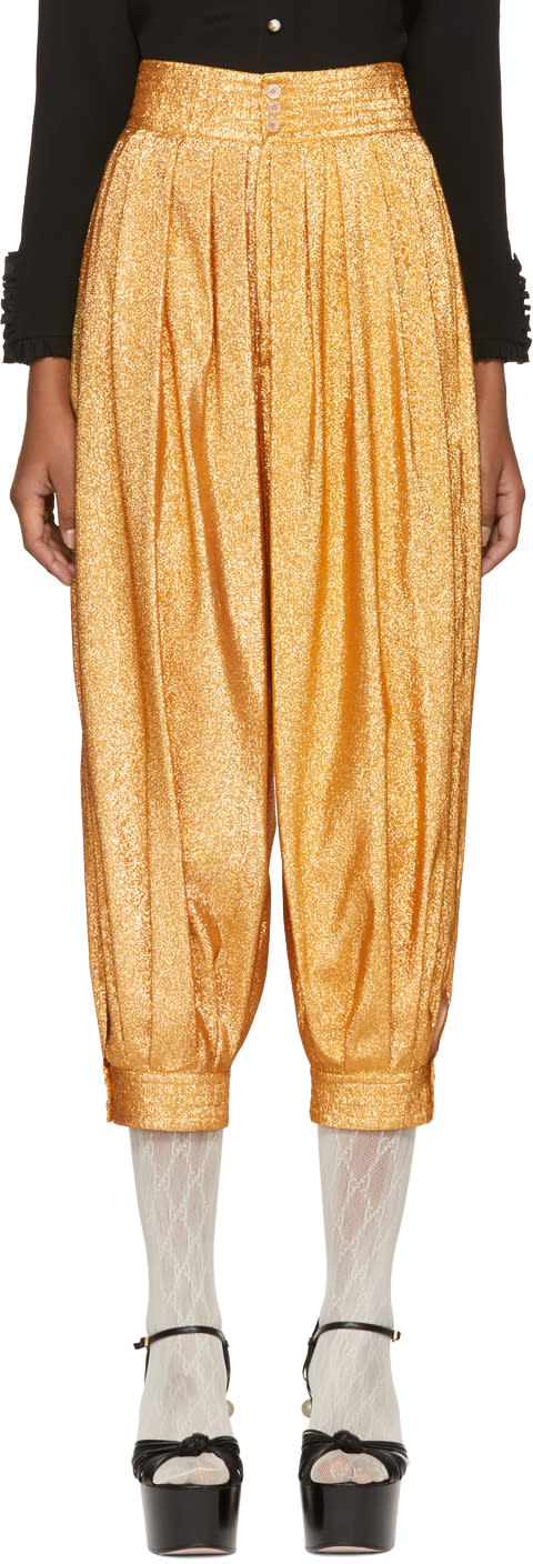Gucci Gold Lurex Crepe Bloomer Trousers