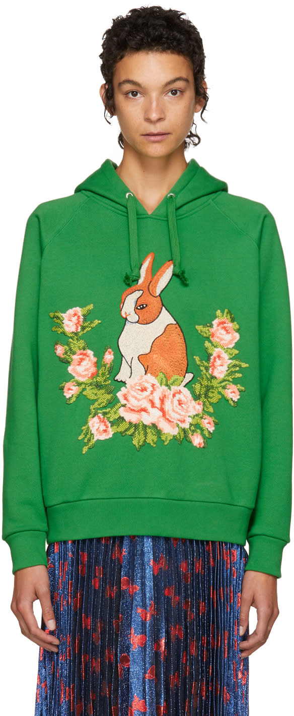 Gucci Green Oversized Rabbit Hoodie