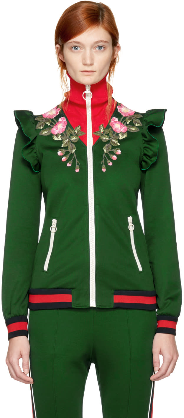 Gucci Green Embroidered Floral Track Jacket