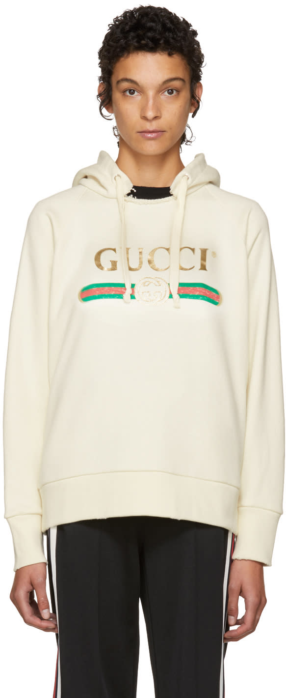 Gucci White Oversized Vintage blind For Love Hoodie