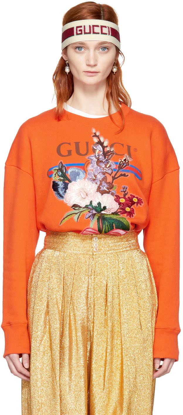 Gucci Orange Embroidered Floral Logo Sweatshirt