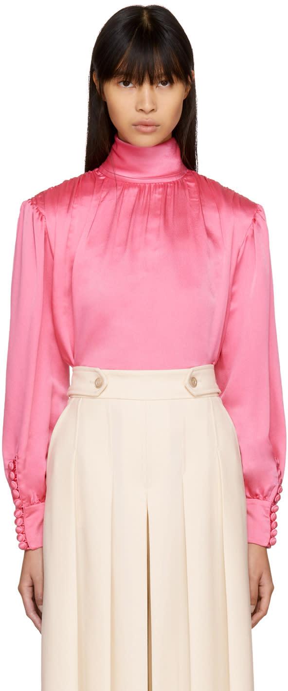 Gucci Pink Silk Turtleneck Blouse