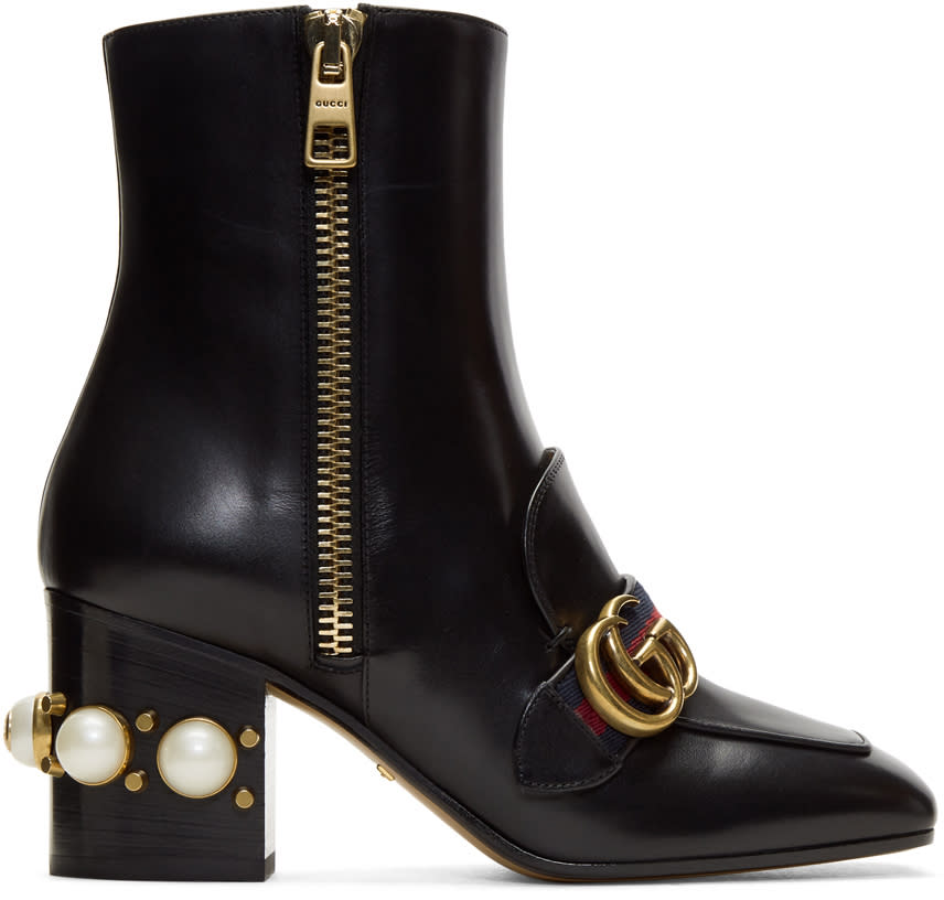Gucci Black Pearl and Stud Peyton Boots