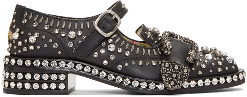 Gucci-Black and Crystal Queercore Mary Jane Brogues