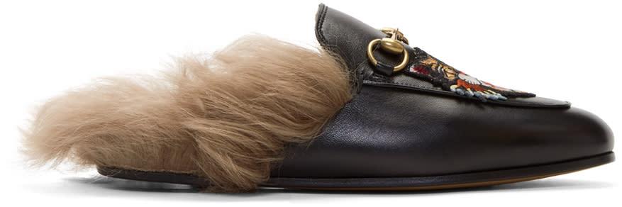 GucciBlack Fur Princetown Slippers