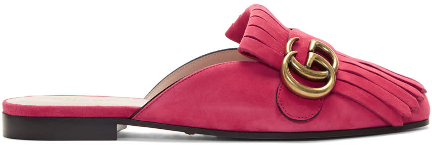 94a92a566 Gucci Pink Suede Gg Marmont Slippers