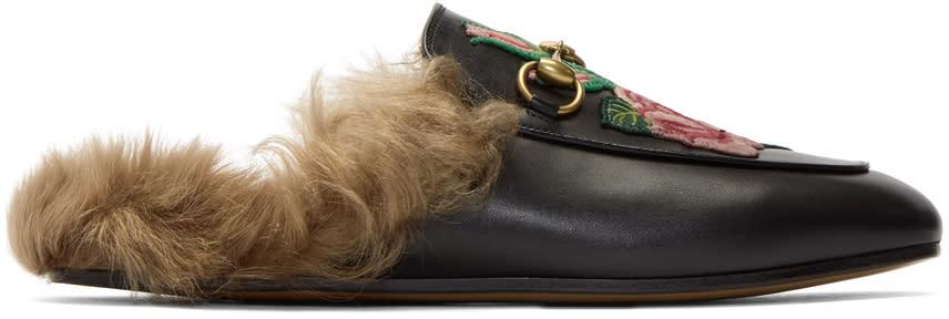 GucciBlack Floral Fur Princetown Slippers