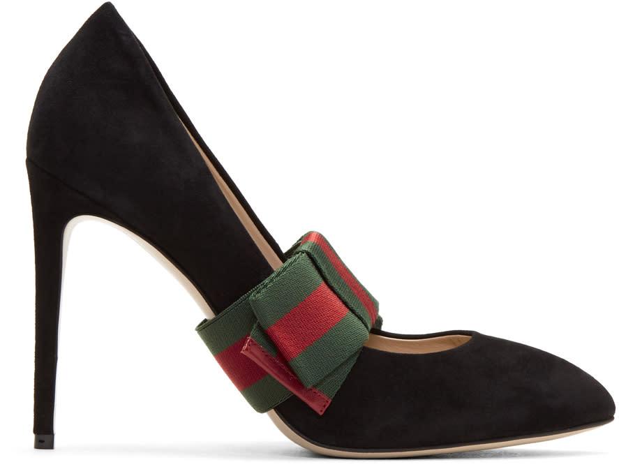 3301cc2123b Gucci Black Suede Web Bow Heels