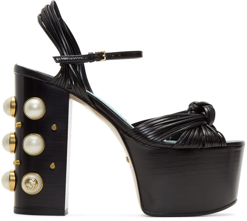 Gucci Black Pearl and Stud Platform Sandals