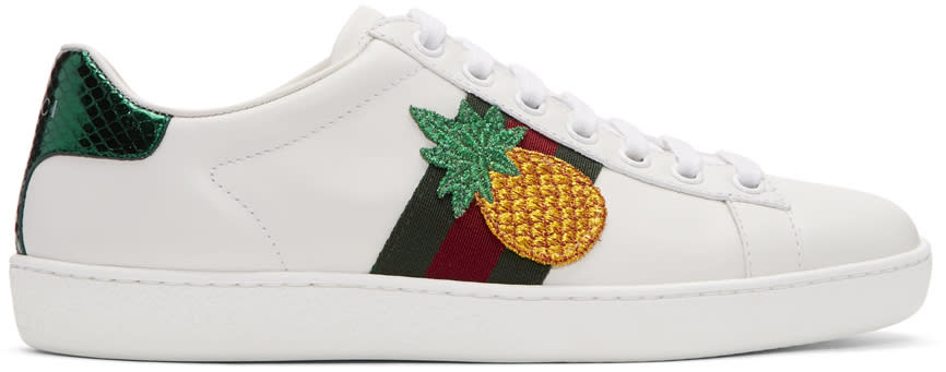 Gucci White Pineapple and Ladybug Ace Sneakers