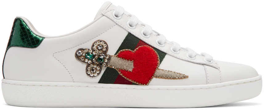 Gucci White Pierced Heart Ace Sneakers