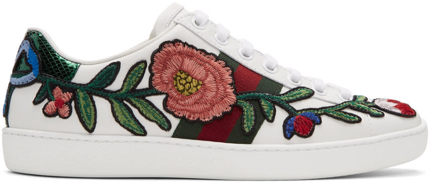 Gucci White Floral and Bow Ace Sneakers